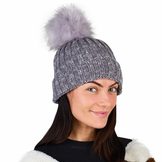 CityComfort Pom Pom Hats for Women Ladies Beanie Hat Knitted Cashmere Feel with Detachable Pom Pom (Two Tone Grey A147)