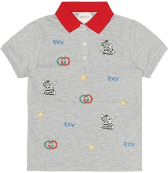 Gucci Kids Embroidered stretch-cotton shirt