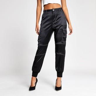 River Island Womens Black contrast stitch satin trousers