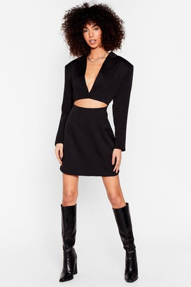 Nasty Gal Womens Cut-Out of Office Shoulder Pad Blazer Dress - Black
