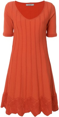D-Exterior Short-Sleeve Flared Dress