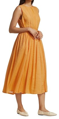 Merlette New York Maya Belted Textured Sleeveless Dress
