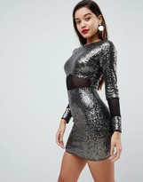 Asos Design All Over Sequin With Mesh Inserts Mini Dress