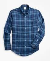 Brooks Brothers Milano Fit Large Plaid Irish Linen Sport Shirt