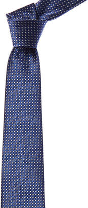 Canali Blue & White Square Dot Silk Tie