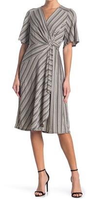 Robbie Bee Flutter Sleeve Twist Front Printed Midi Dress