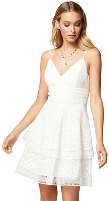 Forever New Isabel Tiered Lace Mini Dress