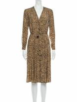 Thumbnail for your product : HVN Animal Print Midi Length Dress Brown