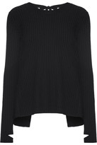 Helmut Lang Open-back Ribbed-knit Sweater - Black