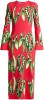 Dolce & Gabbana Broad bean-print round-neck crepe dress