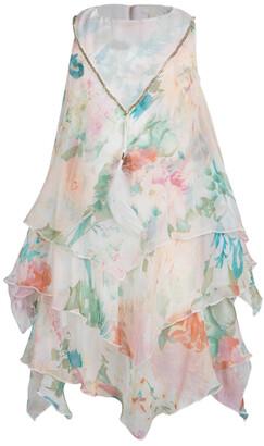 Roberto Cavalli Floral Printed Chiffon Layered Sleeveless Dress 4 Yrs