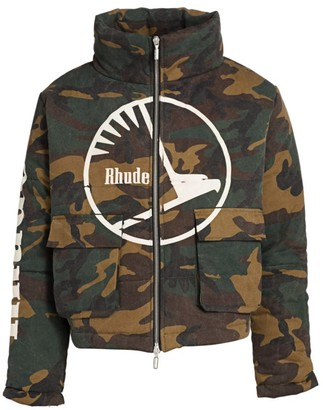Rhude Collage Camouflage Puffer Coat