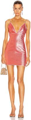 Area V-Neck Mini Dress in Coral | FWRD