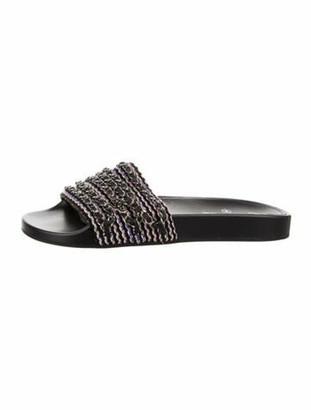 Chanel Chain-Link Accent Slides Black