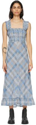 Ganni Blue Seersucker Check Long Dress
