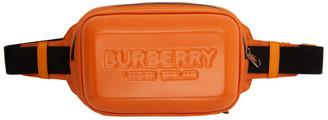 Burberry Orange Nylon Logo Embossed Panel Bum Bag