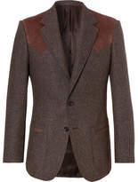 Kingsman - Jack's Statesman Brown Alcantara-Trimmed Donegal Wool Blazer