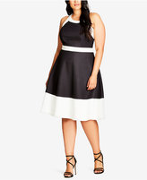 City Chic Trendy Plus Size Colorblocked Fit & Flare Dress