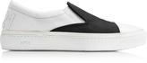 N°21 Black Satin & White Leather Slip-on Sneaker