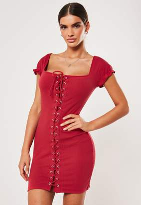 Missguided Red Rib Cap Sleeve Lace Up Mini Dress