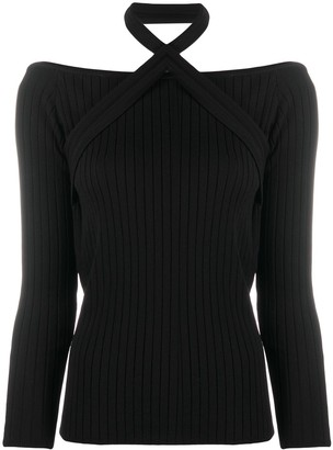 Patrizia Pepe Ribbed Knit Top With Halter Neck Detail