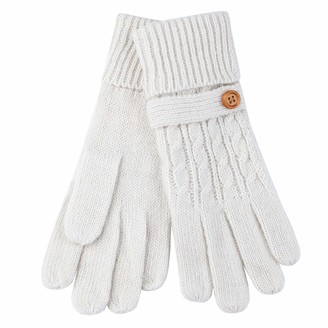 Aran Traditions Fine Knit Button Cuff Gloves (Cream)