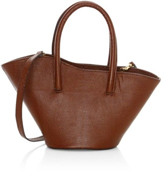 Little Liffner Micro Tulip Lizard-Embossed Leather Tote