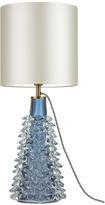 "Heathfield & Co Abies Murano Blue Cone Table Lamp - 10"" Ivory Premium Satin Shade with White PVC Inner"