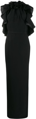 Ralph & Russo Ruffle Sleeveless Maxi Dress