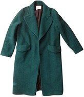 MANGO Green Wool Coat for Women