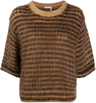 Chloé Crop-Sleeve Striped Jumper