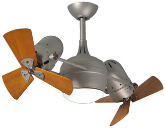 Matthews Fan Dagny Rotational Ceiling Fan w/ Light Kit w/ Mahogany Tone Blades, Bru