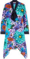 Mary Katrantzou Pussy-bow Floral-print Silk Crepe De Chine Dress - Purple