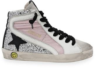 Golden Goose Slide Laminated Leather & Glitter High-Top Sneakers, Toddler/Kids