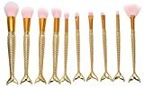 Vinjeely 10PCS Make Up Foundation Eyebrow Eyeliner Blush Cosmetic Concealer Brushes (Gold)