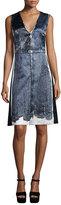 Marc Jacobs Sleeveless Lace-Print Satin Dress, White