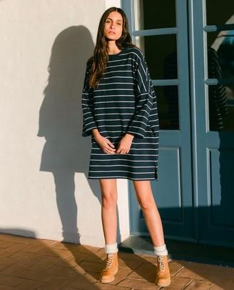 Beaumont Organic AW20 - Sarasi Sue Organic Cotton Dress In Navy Beige - Navy & Beige / Extra Small