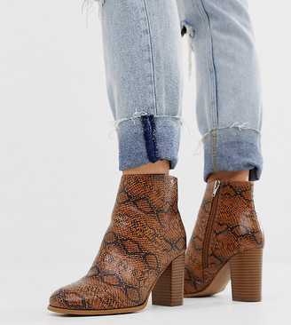 ASOS DESIGN Wide Fit Rye heeled ankle boots in tan snake