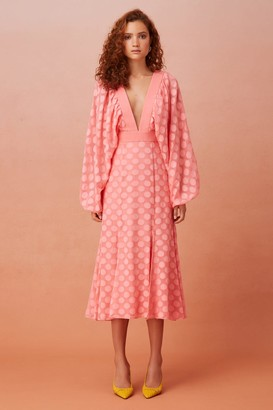 Keepsake AFLOAT LONG SLEEVE MIDI DRESS coral