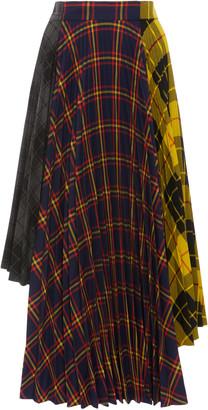 Rokh Dual-Print Asymmetric Pleated Jersey-Crepe Skirt