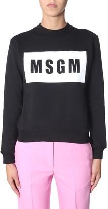 MSGM Contrast Printed Logo Sweatshirt