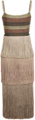 Herve Leger Fringed Striped Metallic Ponte Midi Dress