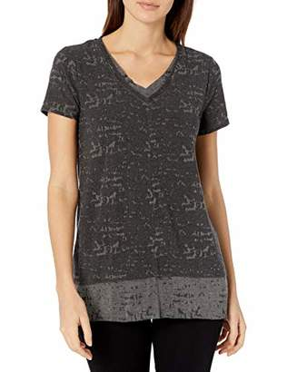 Vince Camuto Women's Short Sleeve Double Layer Melange Jersey Tee