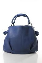Giorgio Armani Blue Leather Magnetic Popper Closure Medium Sized Tote Handbag