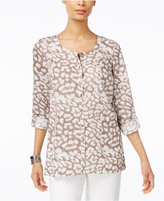 JM Collection Cheetah-Print Roll-Tab Blouse, Created for Macy's