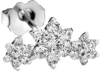 Maria Tash 18kt White Gold Three Diamond Flower Garland Stud Earring