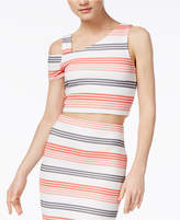 Bar III Striped Cropped Top, Only at Macy's