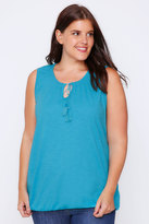 Yours Clothing Turquoise Sleeveless Vest Top With Tassel Tie Front