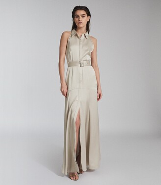 Reiss Keira - Open Back Belted Maxi Dress in Champagne