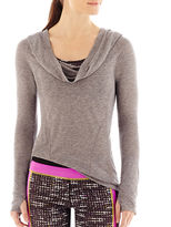 JCPenney Xersion Shirred Draped Cowlneck Top
